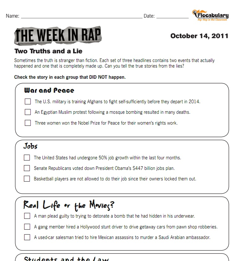 Two Truths and a Lie Week in Rap Activity